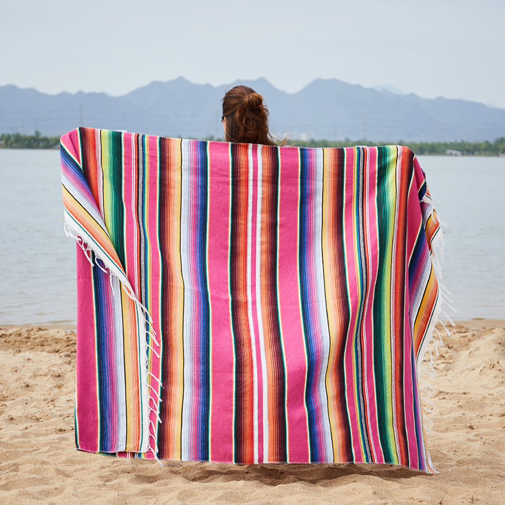 Mexican Indian Style Manual Rainbow Color Hanging Tapestry Beach Picnic Blanket Rose red_150x180cm+ tassel