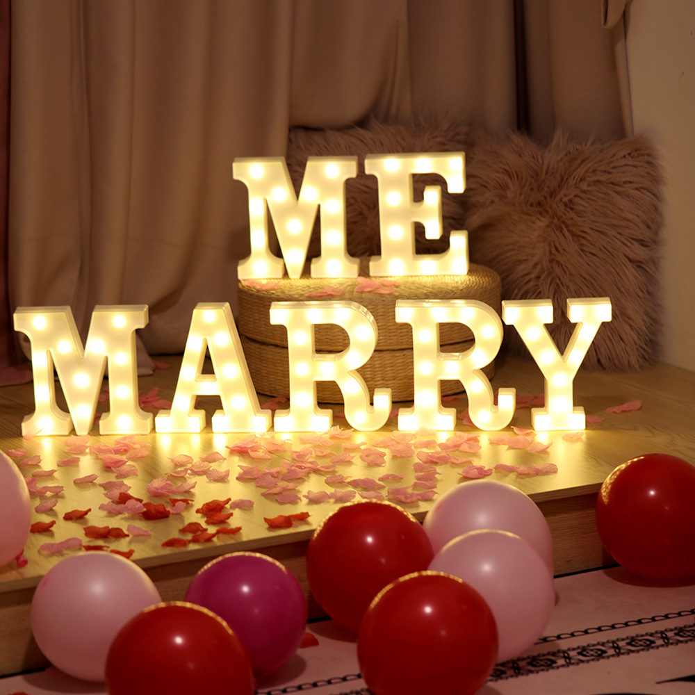DIY English Letter Shape LED Night Light for Christmas Birthday Wedding Marriage Proposal Decor Photo Prop MARRY ME (7 letter combination) warm white battery