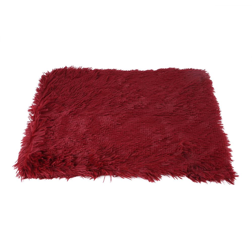 Pet Autumn Winter Dog Nest Warm Mattress Cat Sleeping Pad Long Blanket Red wine_S-51*43