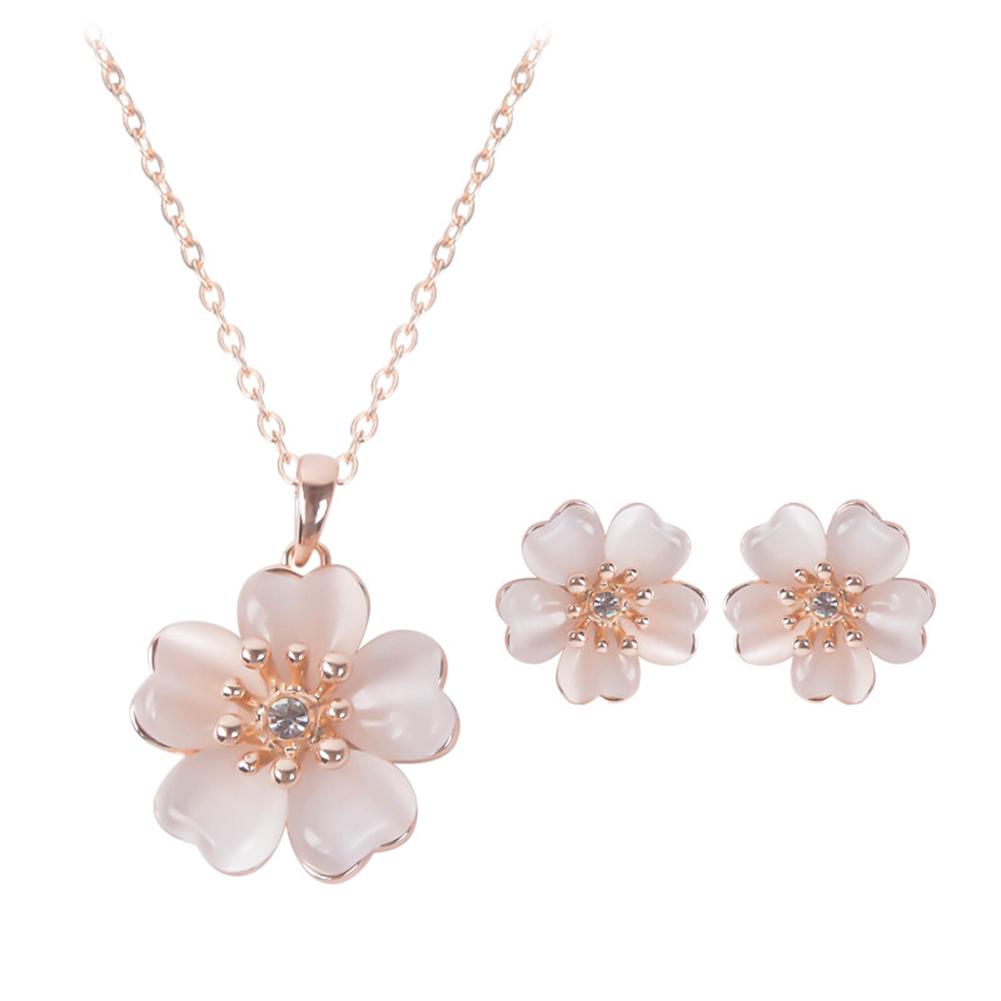 2 Pcs/set Necklace Set Alloy Opal Flower Necklace + Earrings