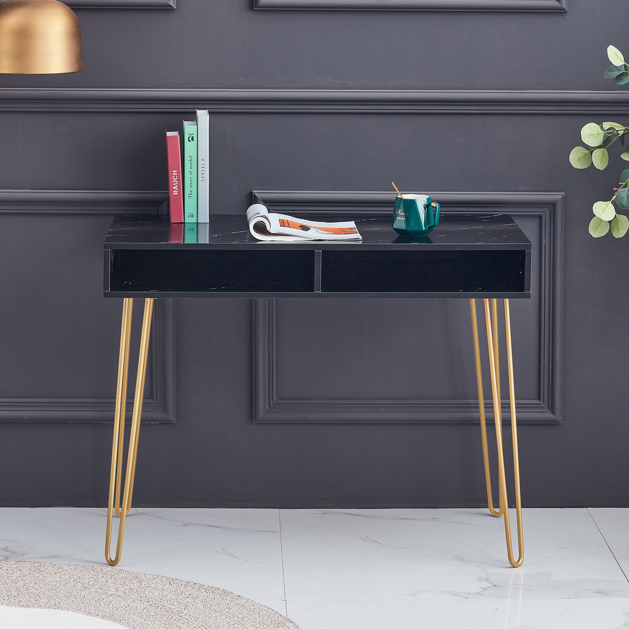 [US Direct] D&N Beauty Table  consoles table side end table modern marble MDF top, sturdy glod metal legs for bedroom, living room, Dining room,  Kitchen,White, single,