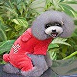 Urparcel Puppy Pet Small Dog Fleece Hoodie Coat Bone Jumpsuit Clothes Red Large