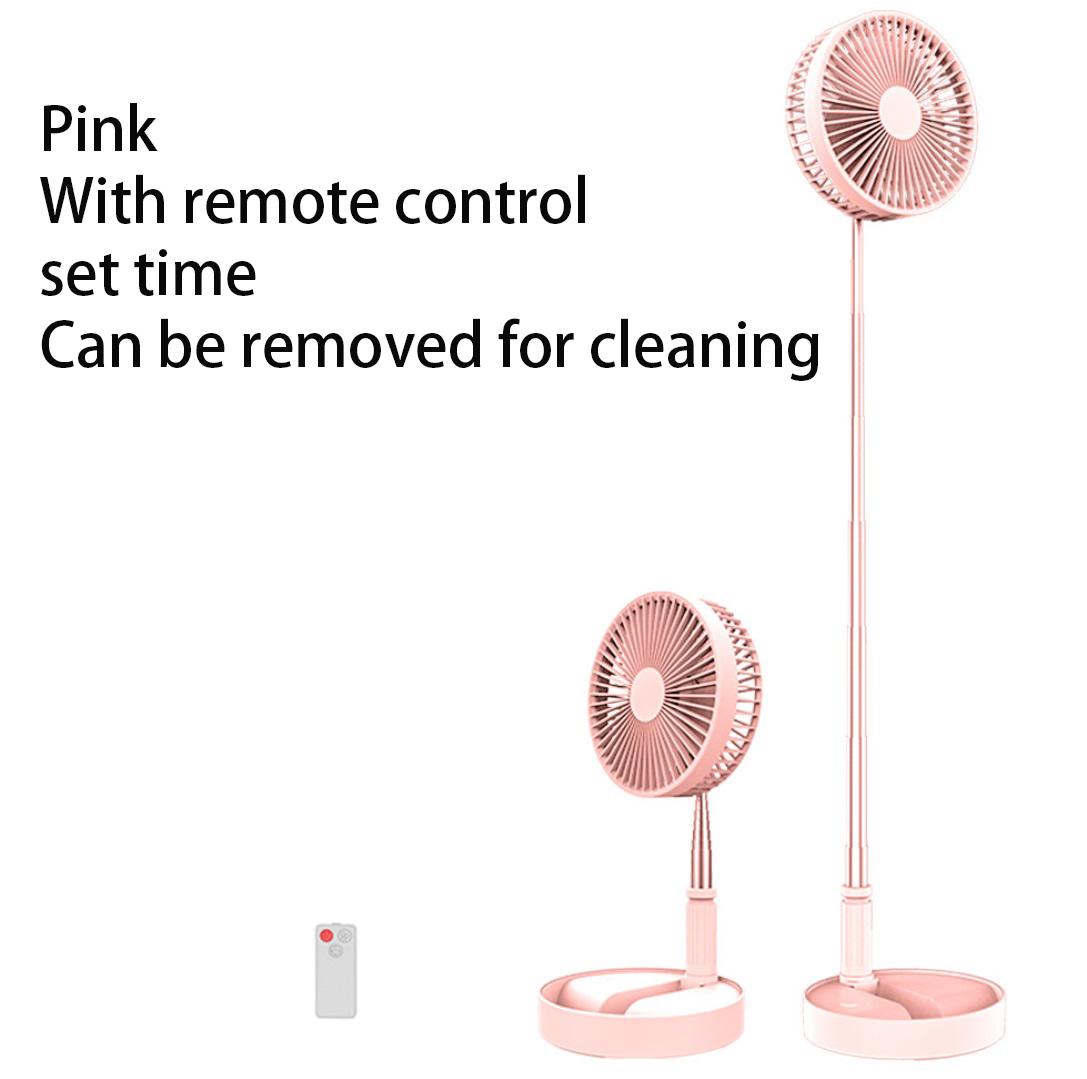 Portable Fan Telescopic Folding Fans Home Desktop Landing Silent Air Cooler Summer Desktop Floor Mute Fan Pink