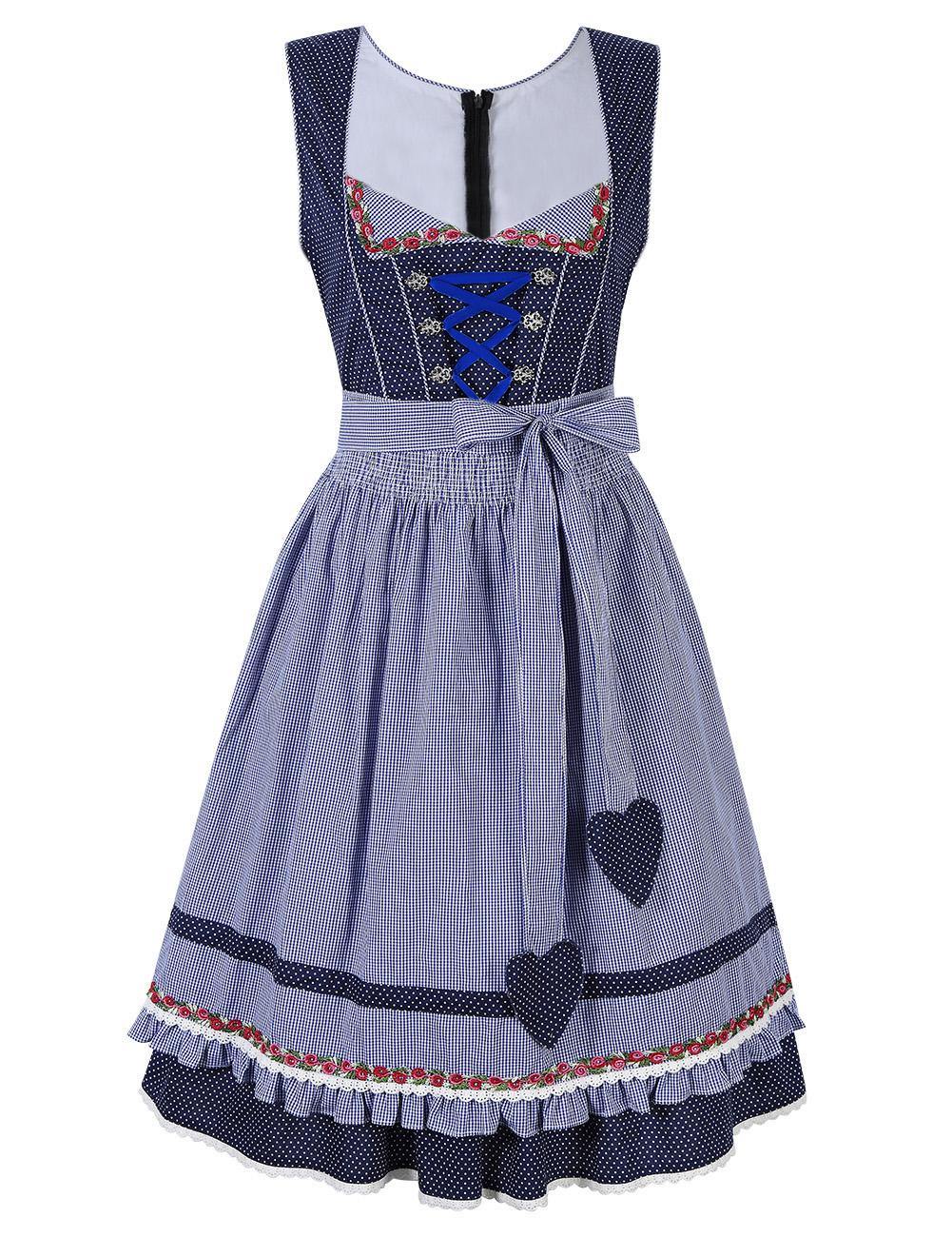 Kojooin Women's 2 Pcs Dirndl Dress Bavarian Beer Oktoberfest Costume Blue_Thirty-four