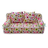 Lovely Miniature Furniture Flower Print Sofa Couch With 2 Cushions doll