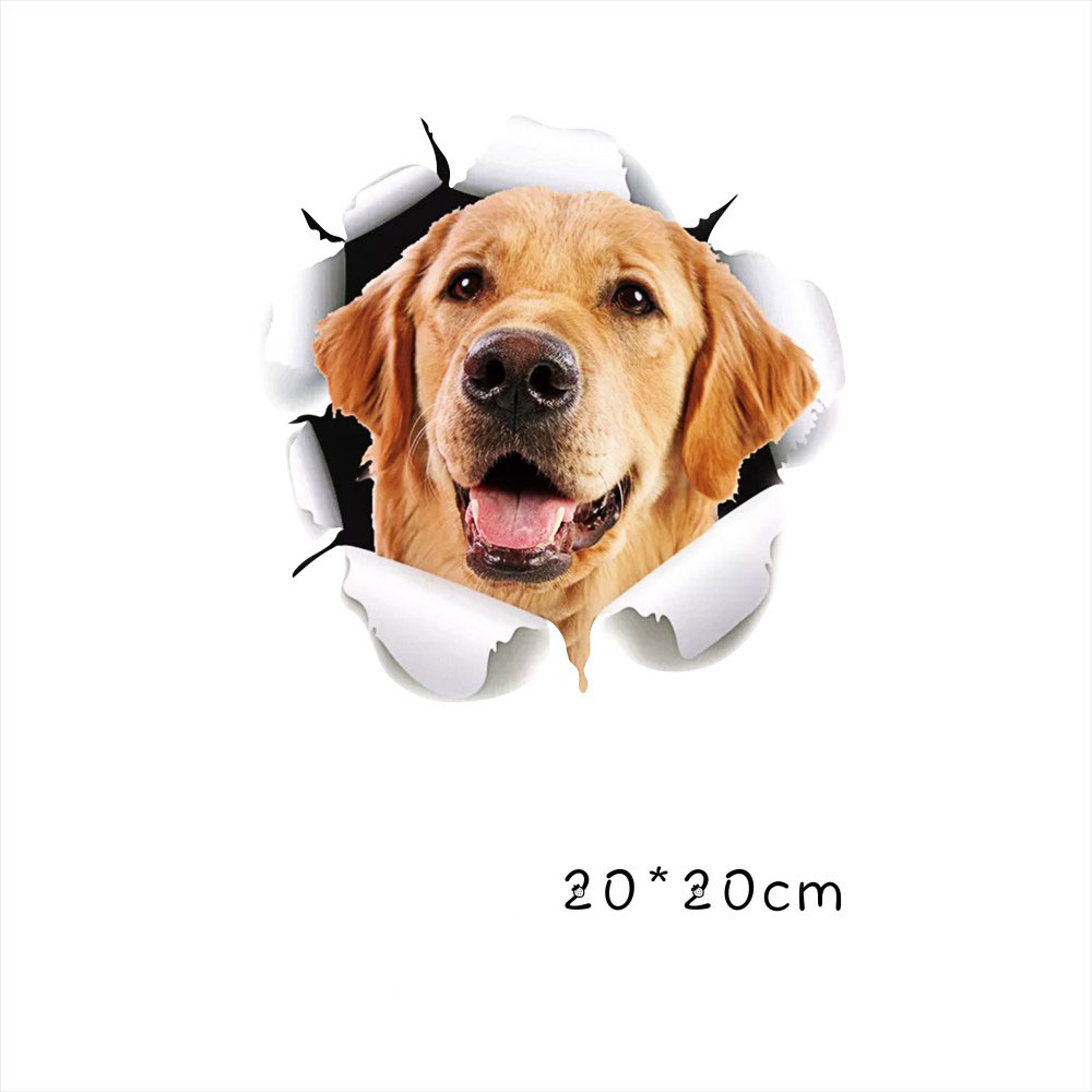 Funny Car  Sticker Body Dog Cat Puppy Scratch Paint Subsidies Cartoon Simulation Door Body Decal Golden Retriever 20*20cm