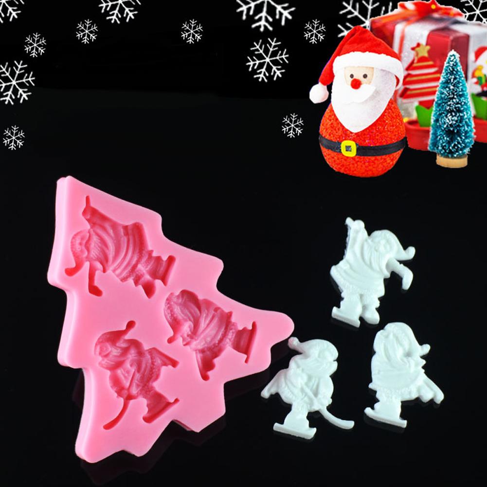 3D Christmas Ski Santa Shape Fondant Silicone Mold Chocolate Cake Gumpaste Candy Decorating Tool
