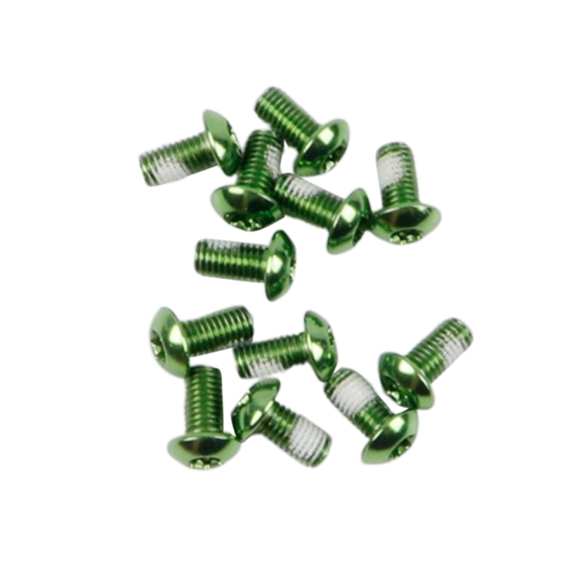 12Pcs M5x10mm Road Mountain Bike Bicycle Disc brakes Rotor Screw Bolts nuts Torx T25 Head Bicycle Brake Disc Bolts Screw Green one card / 12