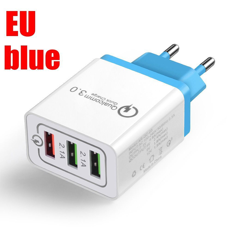 30W QC 3.0 Fast Quick Charger 3 Port USB Hub Wall Charger Adapter sky blue_European regulations