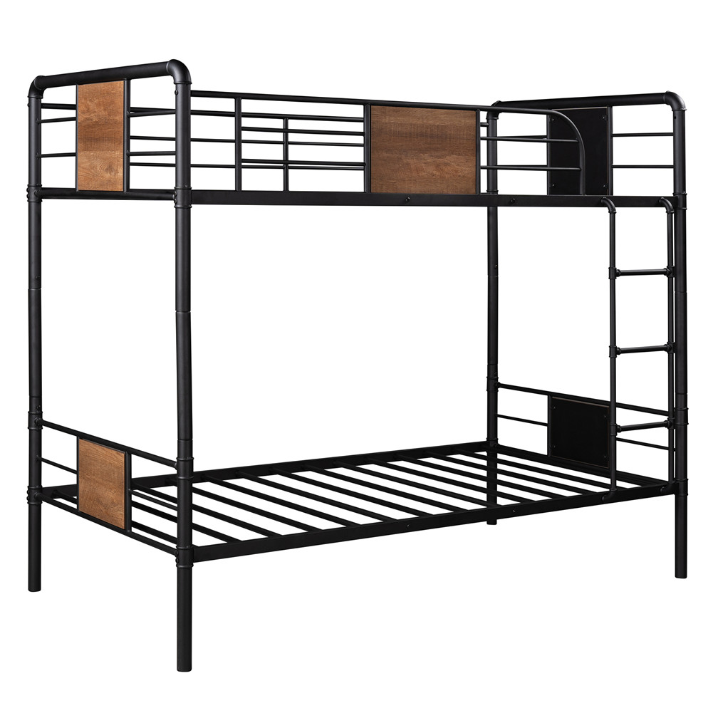 [US Direct] Twin Over Twin Metal Bunk  Bed With Guardrails Household Furniture For Living Room (black)