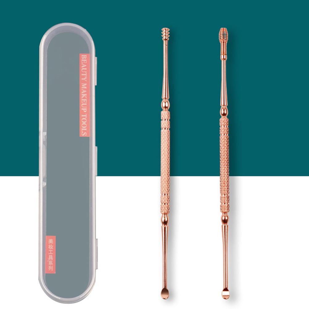 Ear Wax Pickers Cleaner Stainless Steel Earpick Wax Remover Curette Ear Pick Cleaner Ear Cleaner Spoon Epiwax Rose gold ear spoon set of 2