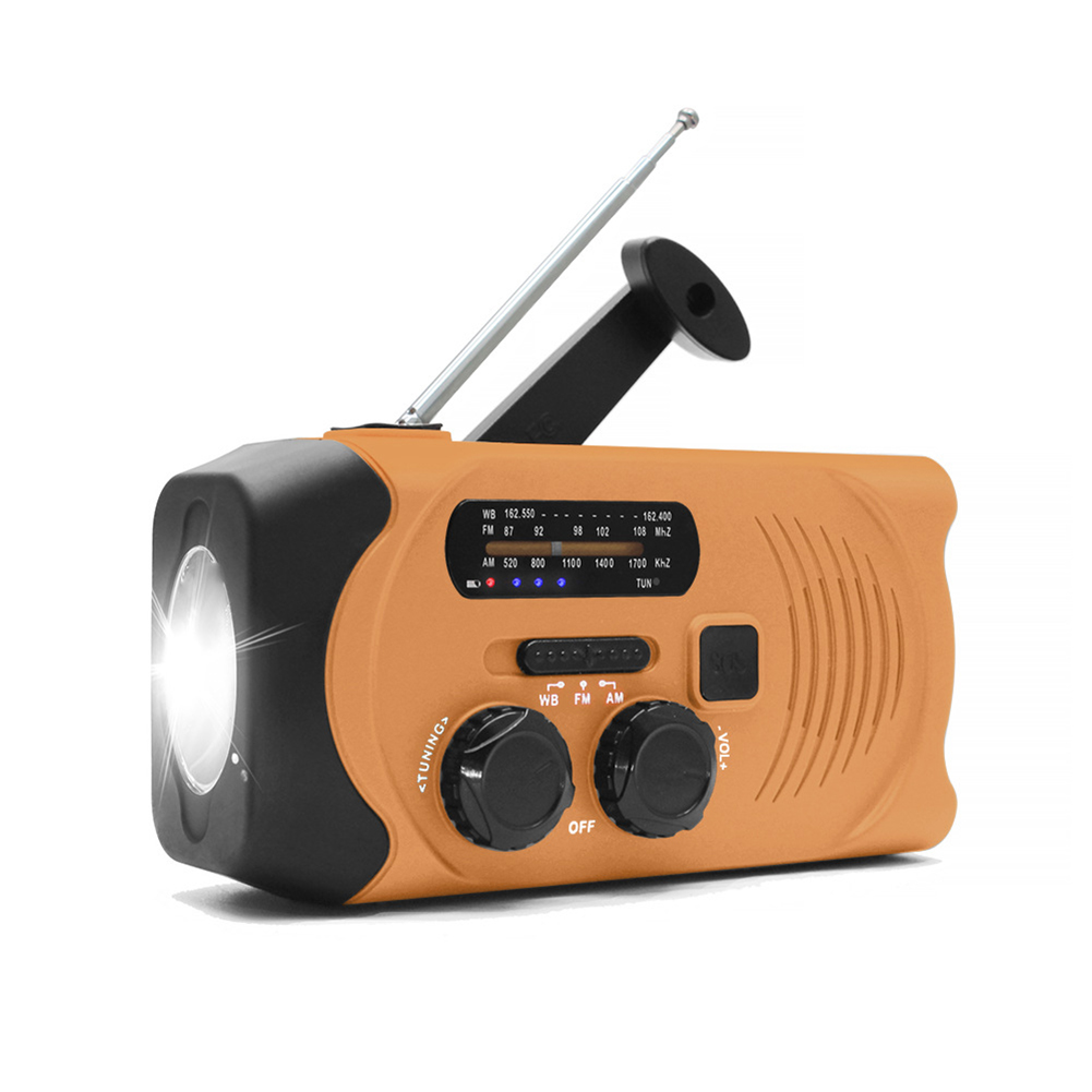 Solar Hand Crank Radio Weather Radio for Emergency with AM/FM, LED Flashlight, Reading Lamp Orange