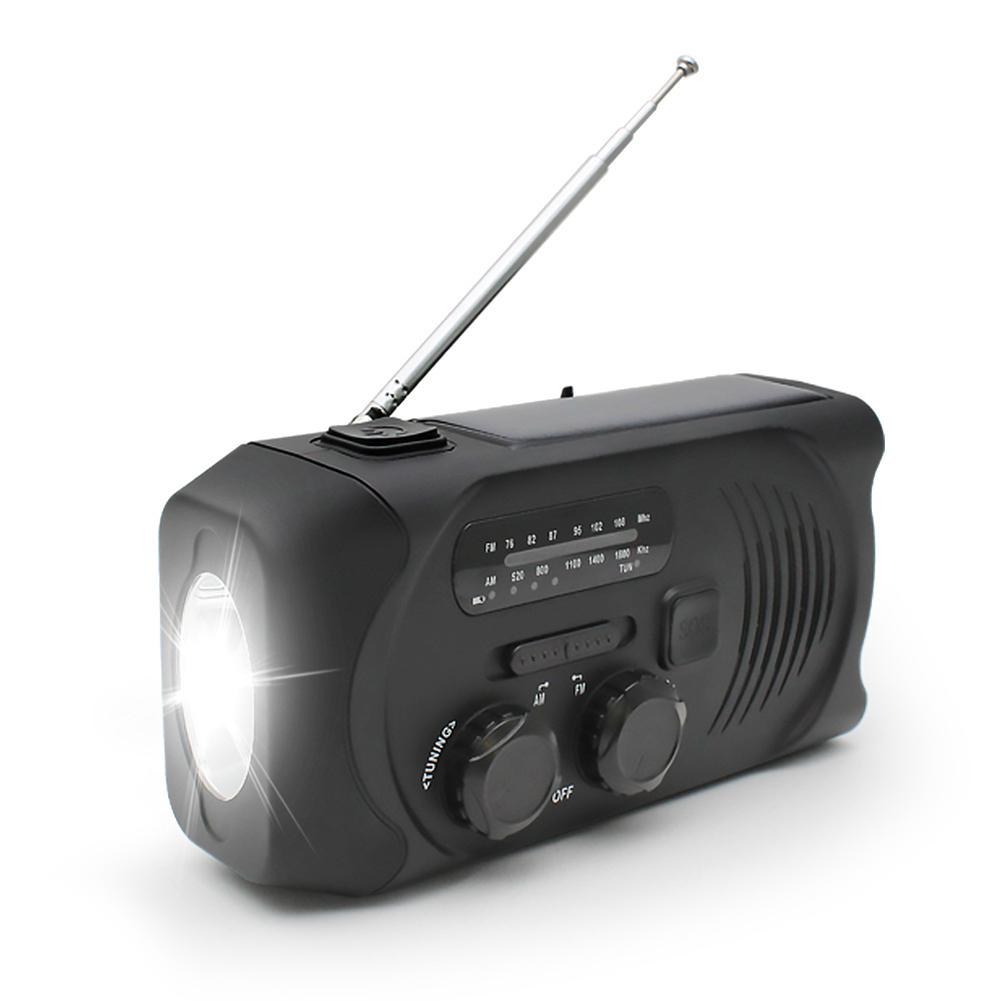 Solar Hand Crank Radio Weather Radio for Emergency with AM/FM, LED Flashlight, Reading Lamp black