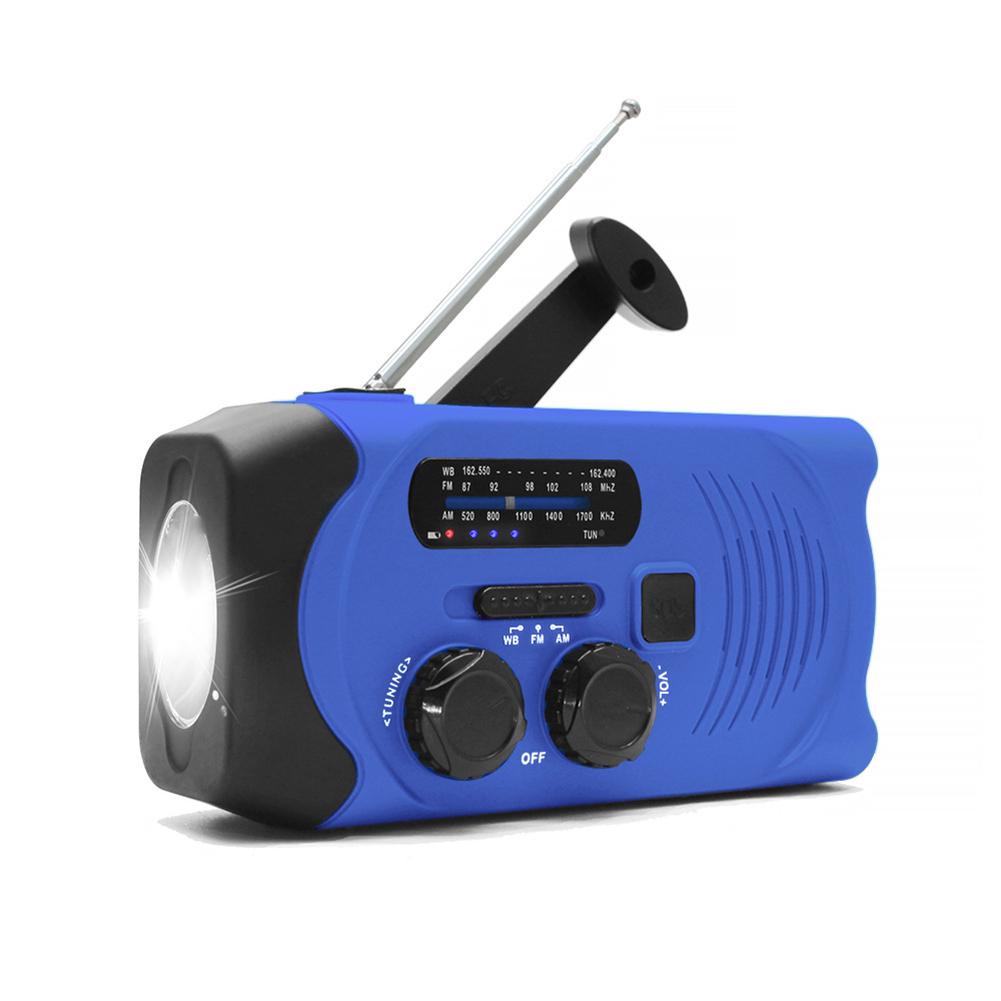 Solar Hand Crank Radio Weather Radio for Emergency with AM/FM, LED Flashlight, Reading Lamp blue