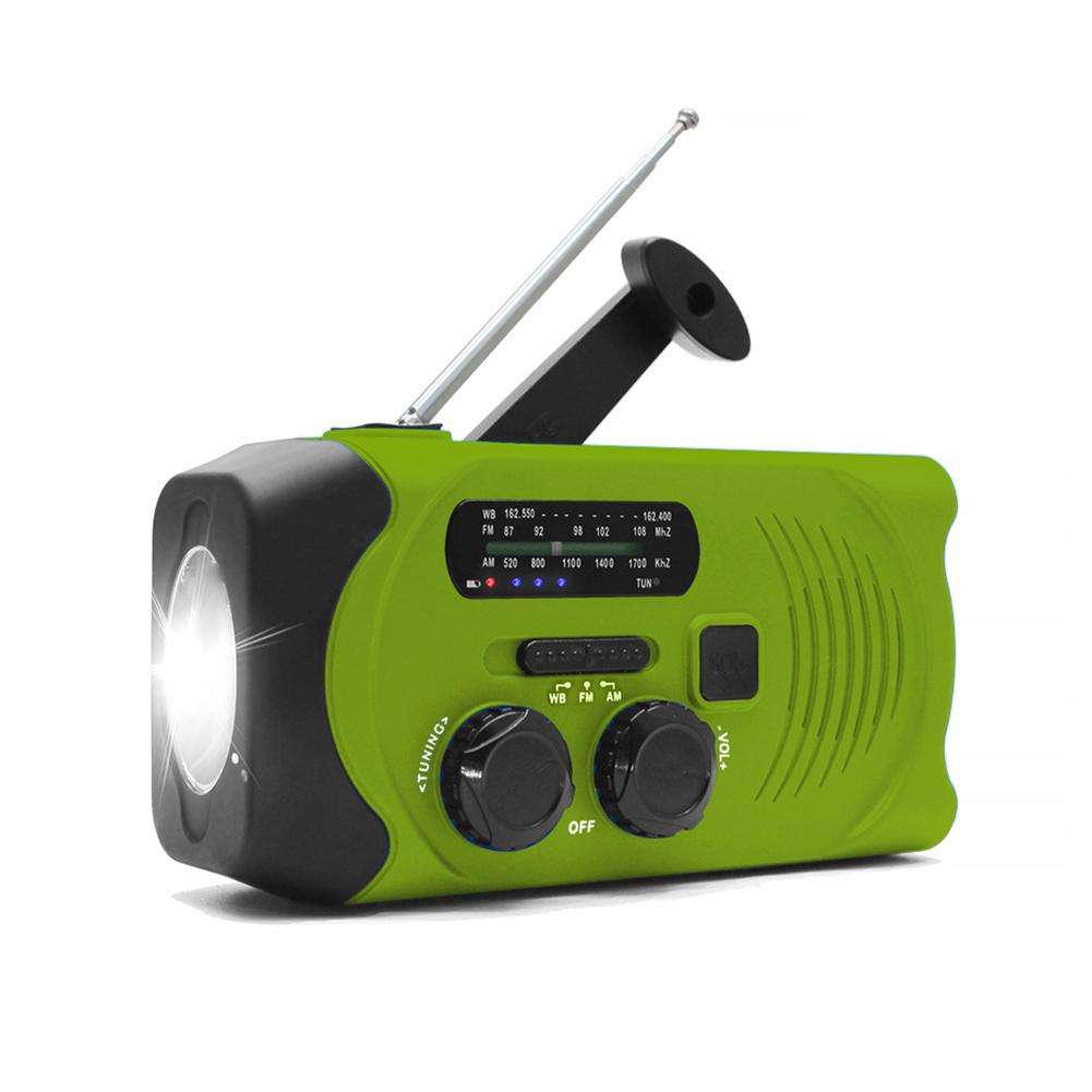 Solar Hand Crank Radio Weather Radio for Emergency with AM/FM, LED Flashlight, Reading Lamp green