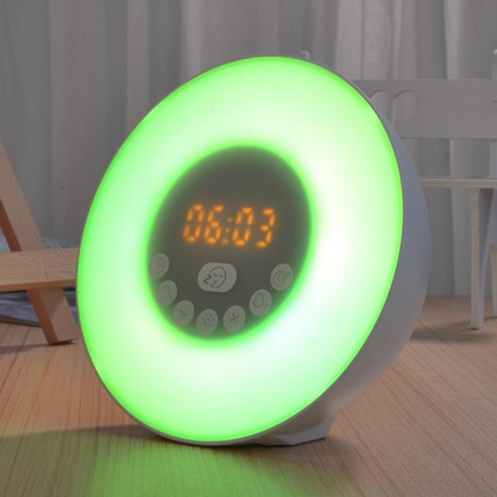 Multifunction Intelligent Bluetooth Speaker Wake-up LED Light with 7Colors Change Radio Alarm Clock U.S. regulations