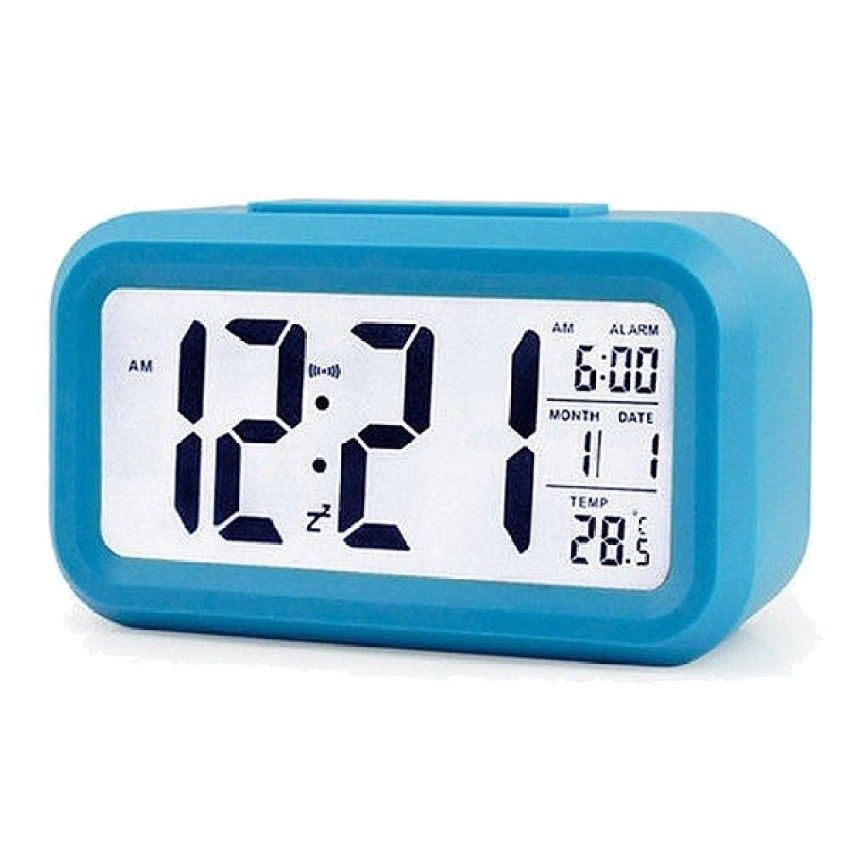 Snooze Temperature Display Alarm Clock Mute Backlight Electronic Creative Digital Clock Gift blue