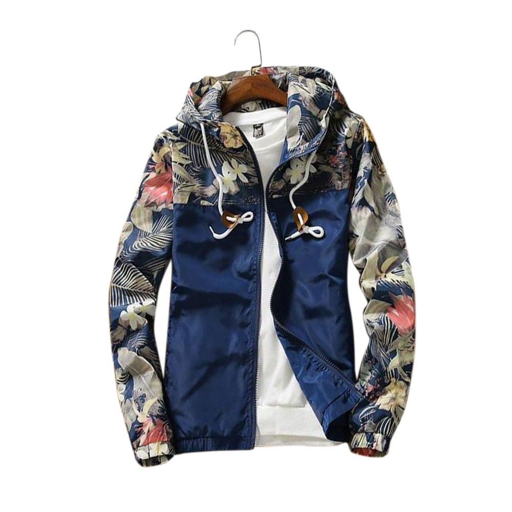 Men Simple Casual Loose Hooded Jacket Camouflage Print Stitching Coat Tops  Navy blue_M