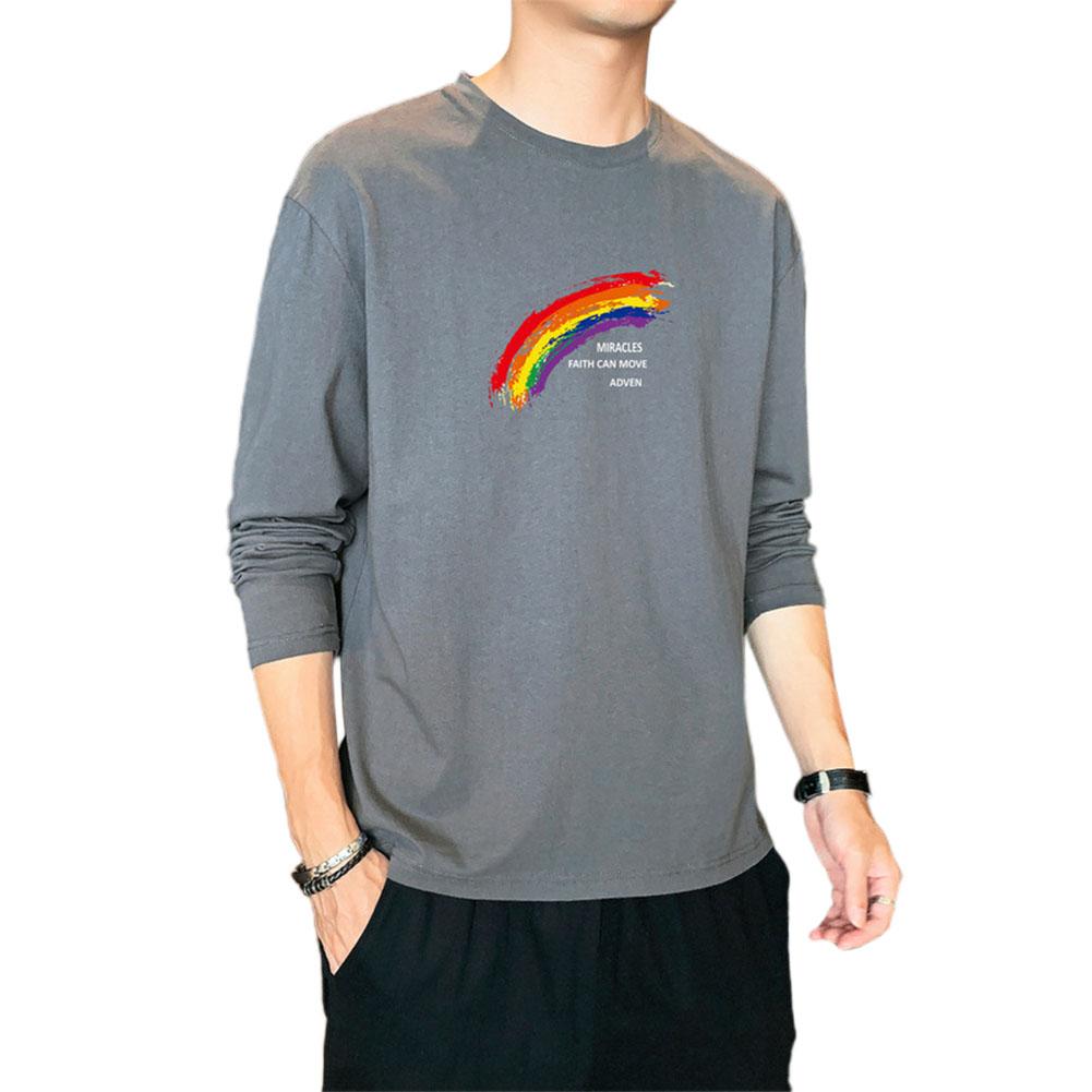Men's T-shirt Autumn Printing Loose Long-sleeve Bottoming Shirt Dark gray_M