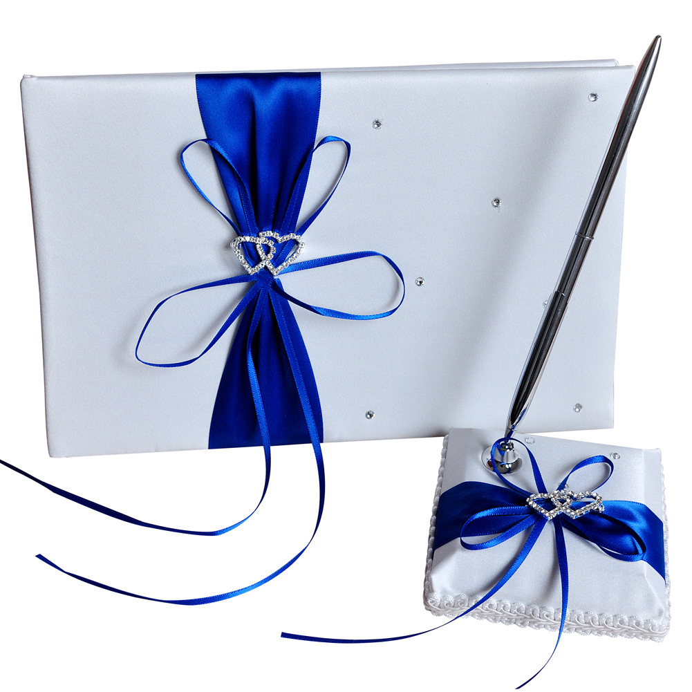 Ribbon Bow Wedding  Supplies Set Guest Signature Book+pen Holder For Party Sapphire