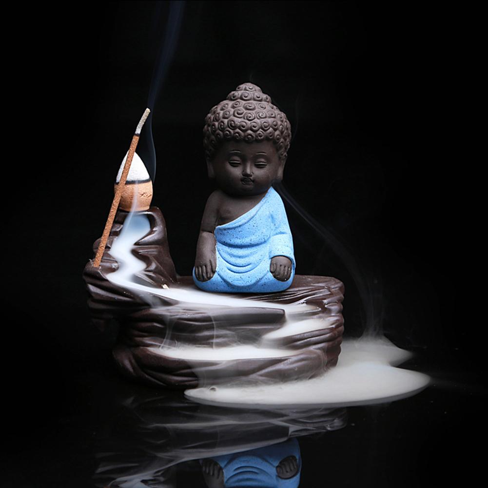 Creative Backflow Incense Burner Cones Stick Holder Small Buddha Ceramic Censer Home Decoration Blue