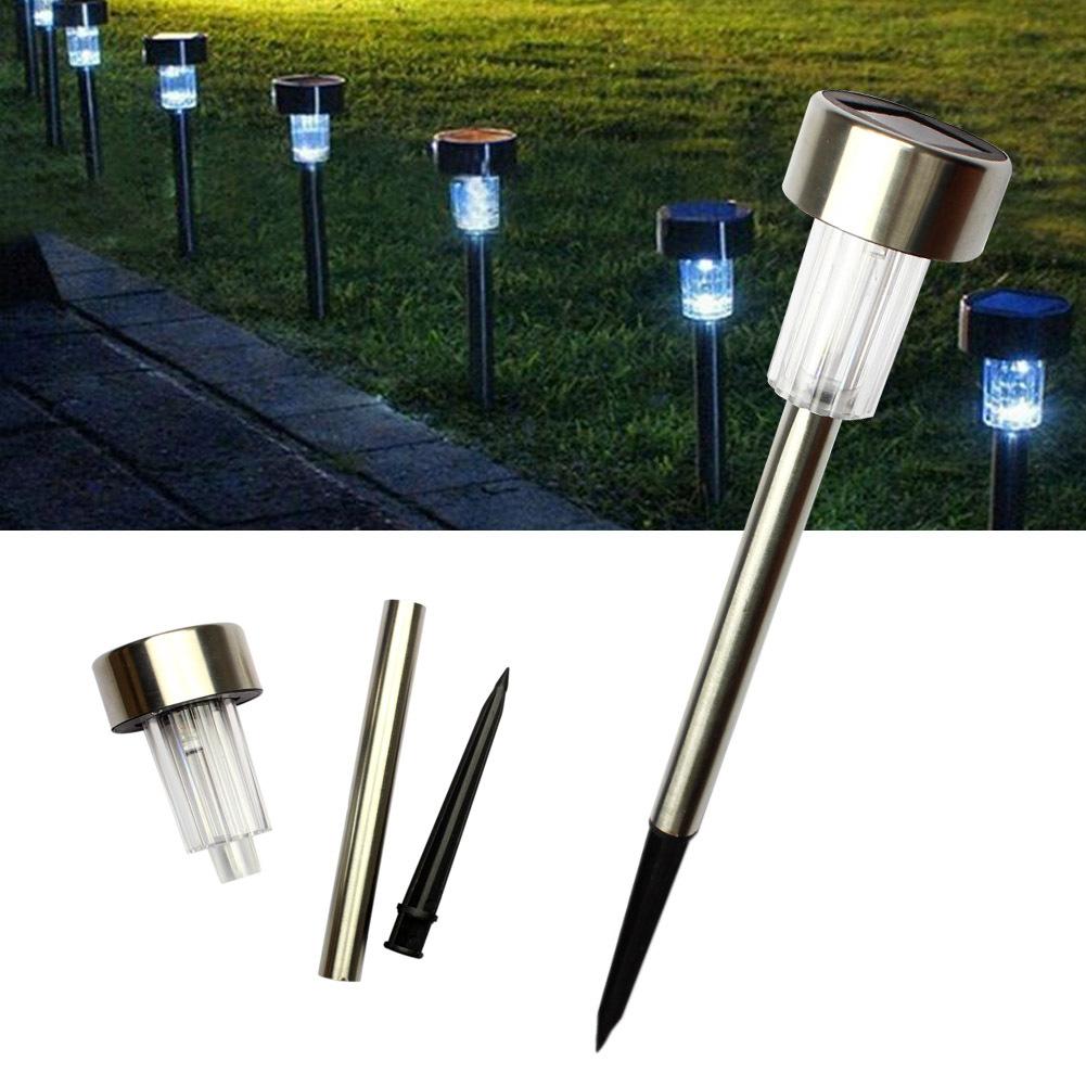 5 Pcs LED Solar Stainless Steel Ground Light Outdoor Solar Garden Light Lawn Tube Light  White light