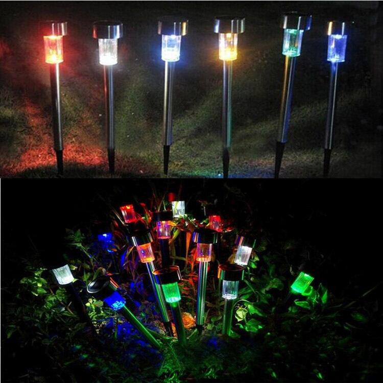 5 Pcs LED Solar Stainless Steel Ground Light Outdoor Solar Garden Light Lawn Tube Light  RGB color
