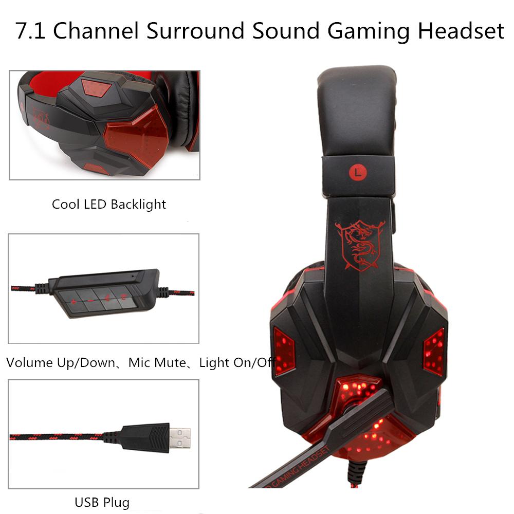 Gaming Headphone USB5.1 stereo game light headset Folding Headset for Gamer Black red