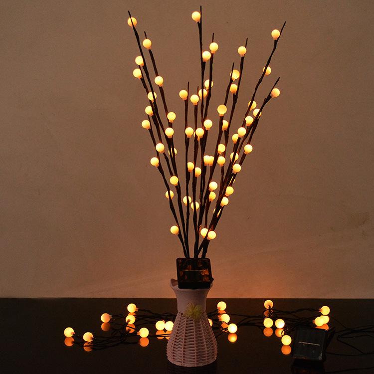 LED 3 in 1 Solar Waterproof Tree Branch Shape Ball Light Decor Lamp for Wedding Party Festival warm light