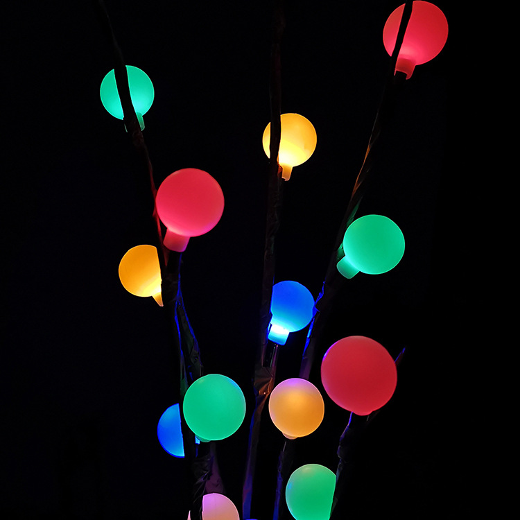 LED 3 in 1 Solar Waterproof Tree Branch Shape Ball Light Decor Lamp for Wedding Party Festival Color