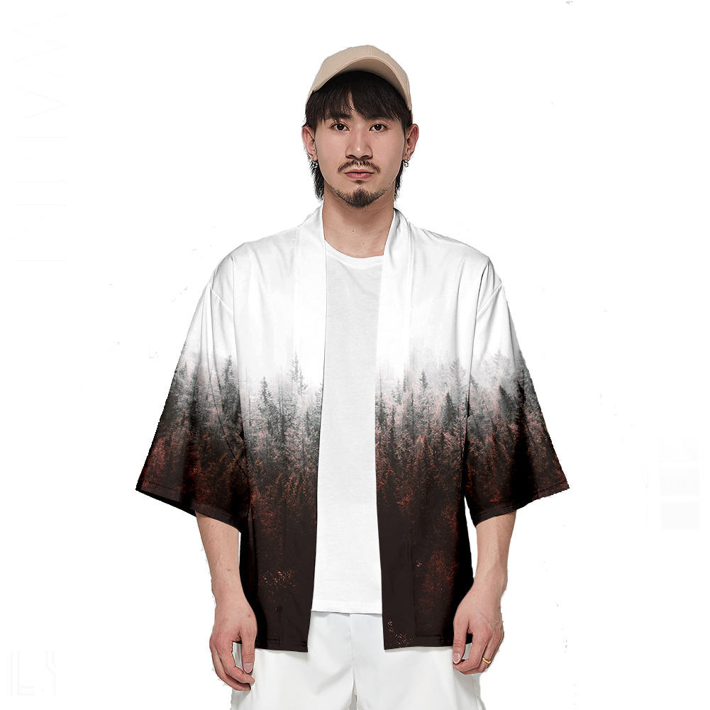 Unisex Fashion Thin Sunscreen Robe Half Sleeve Loose Large Size Kimono Clothes V00017-3M25_XXL