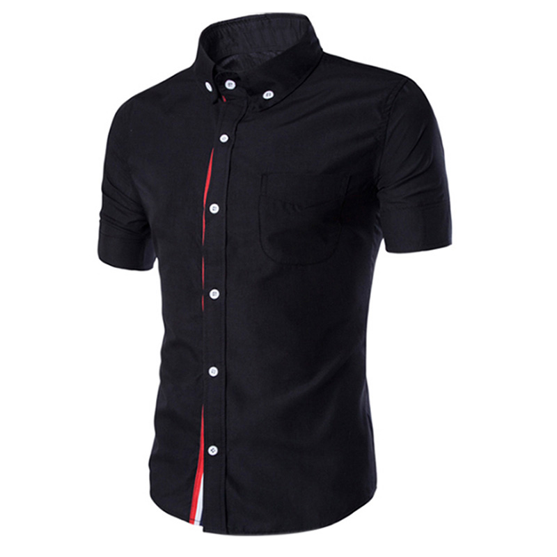 Summer Male Casual Short-sleeve Shirt Solid Colour Tops Gift black_L