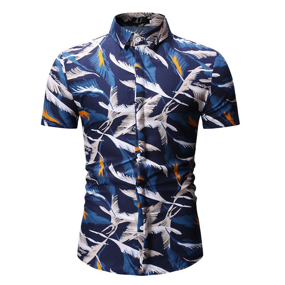 Men Fashion New Casual Short Sleeve Floral Slim Shirt Tops Navy blue_M