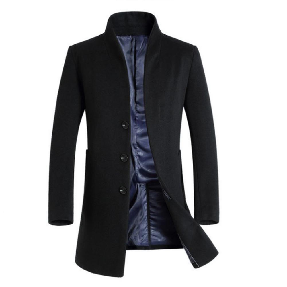 Fashion Winter Men's Trench Coat Warm Long Jacket Single Breasted Overcoat black_L