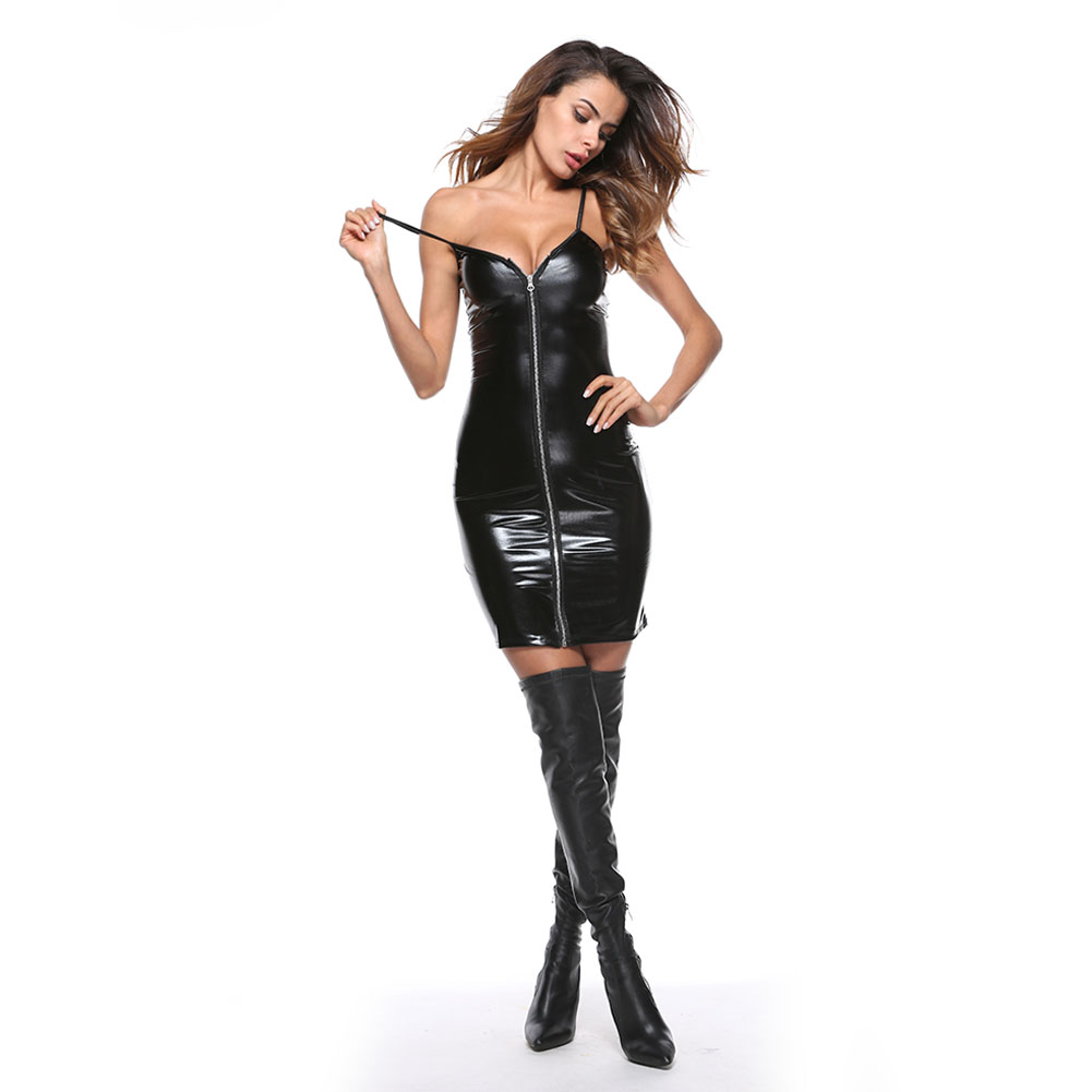 Women Leather Long Sleeve Bodysuit Clubwear Sexy Lingerie Dress with T Back black_XL