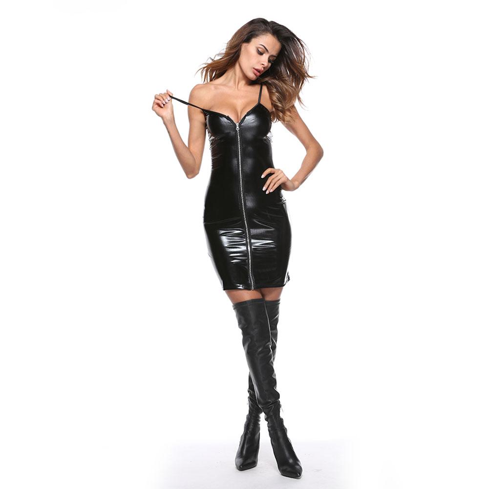 Women Leather Long Sleeve Bodysuit Clubwear Sexy Lingerie Dress with T Back black_M