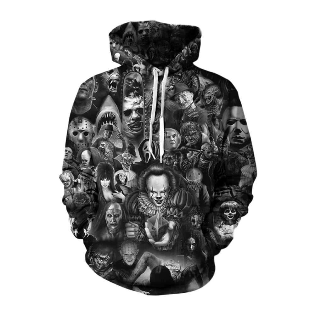 Unisex 3D Digital Stylish Skull Print Hooded Baseball Sweatshirts Fashion Pullover Tops Figure II_XL