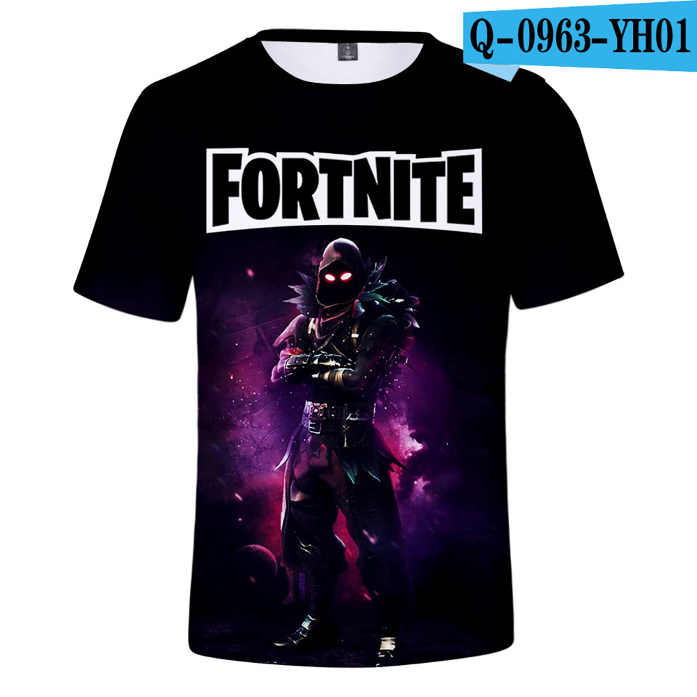 Casual 3D Cartoon Pattern Round Neck T-shirt Picture color V_L