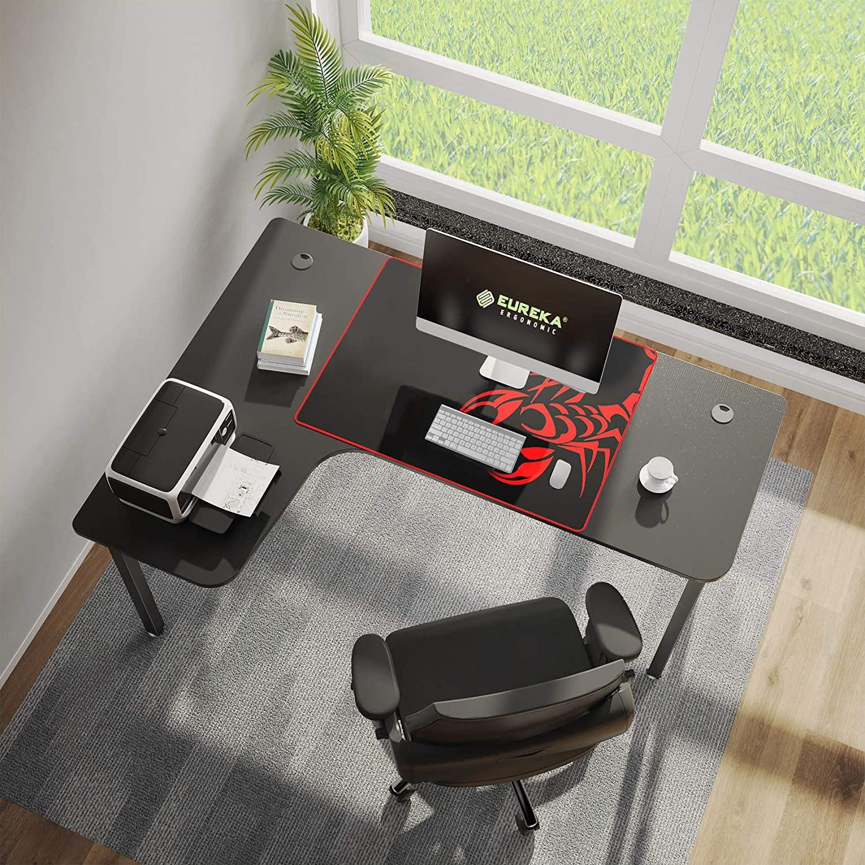 [US Direct] Eureka Ergonomic 61 inch L Shaped Desk, Home Office Gaming Computer Desk Corner Desk Table with Mouse Pad Easy Assembly, Left Side - Black 120*67*16