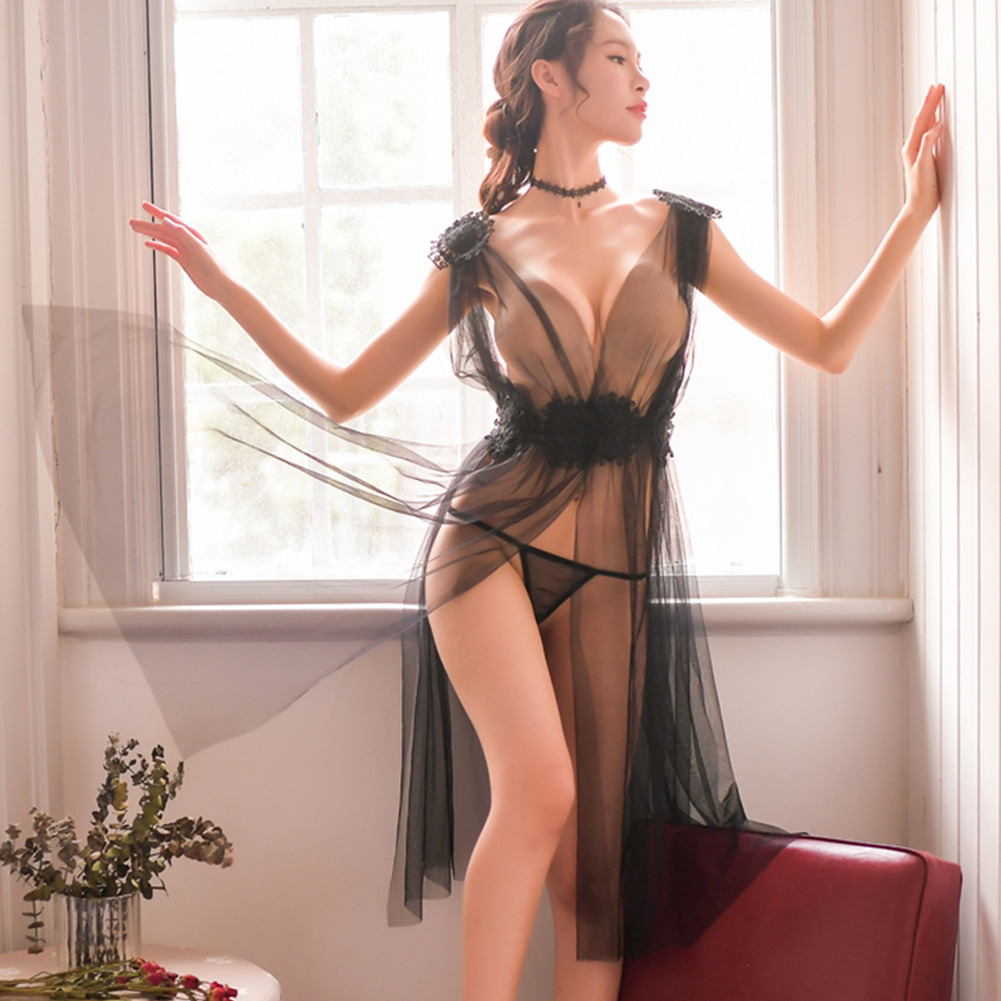 Lady See-through Nightdress + Briefs Deep V-Neck Side Split Lace Sexy Temptation Gauze Lingerie Underwear black_One size