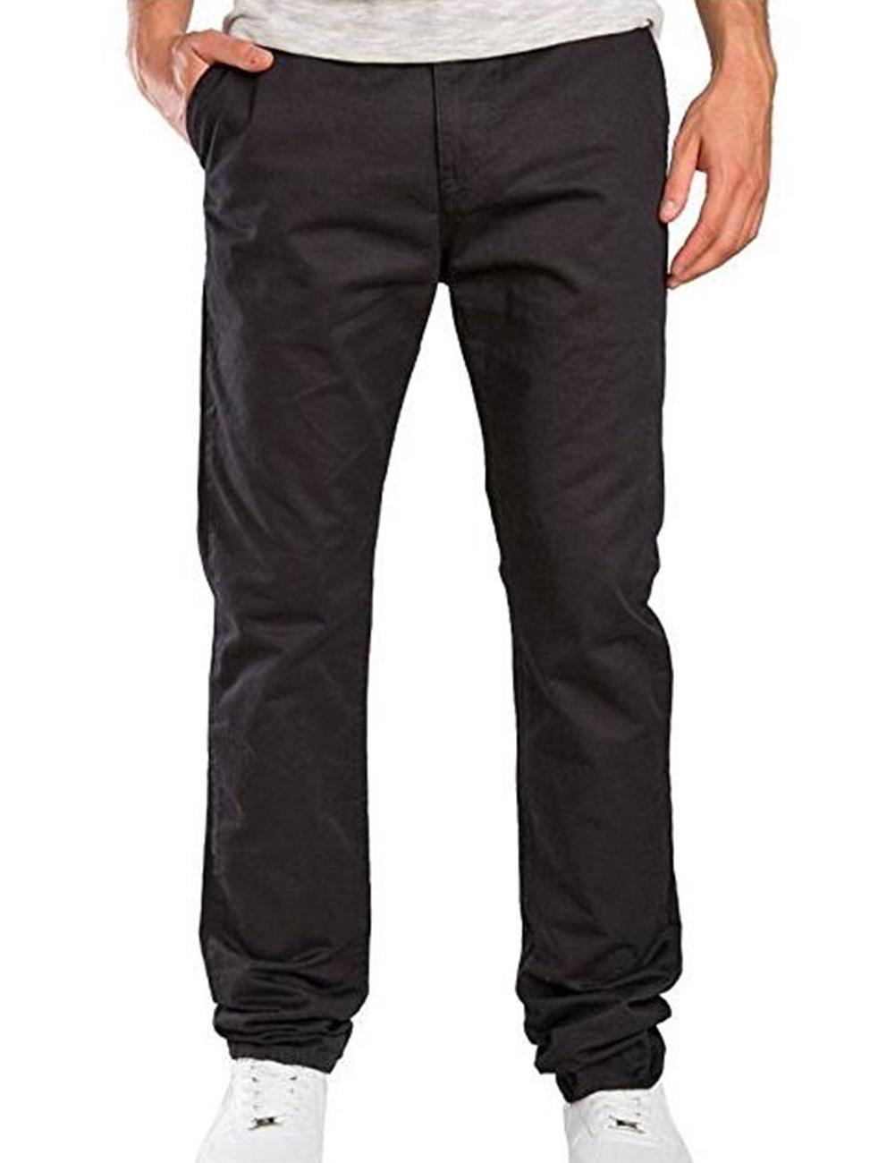 Fashionable Men Solid Color Trousers Business Straight-leg Pants Casual Cotton Pants black_M