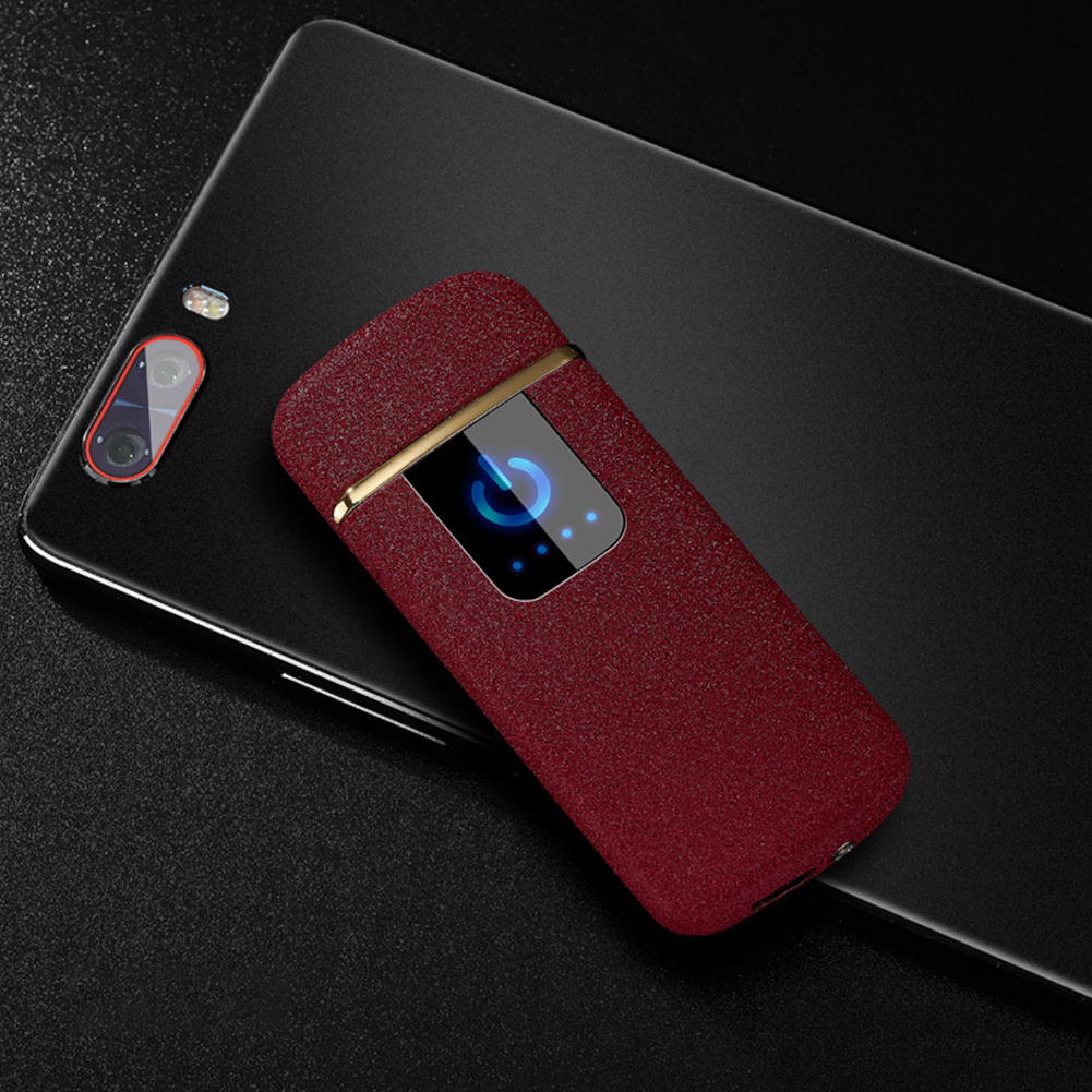 Portable Ultra-thin Windproof Touch Sensor Cigarette Lighter USB Rechargeable Metal Flameless Lighters Red matte No power display_WD839