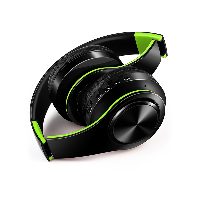 Wireless Headphones Bluetooth Headset Foldable Headphone Adjustable Earphones with Microphone for PC Mobile Phone Mp3 Green black