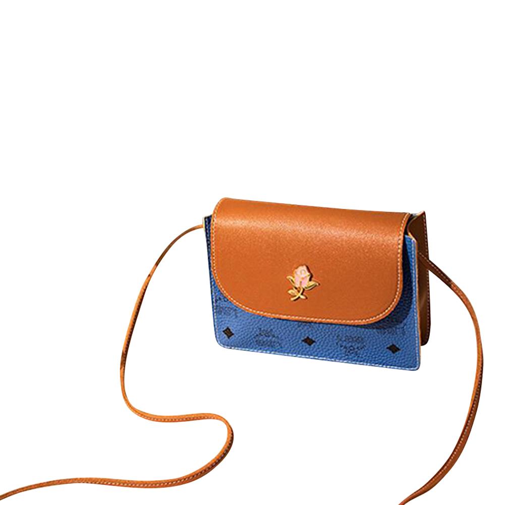 Fashion hit color casual small square bag pu single shoulder messenger bag blue