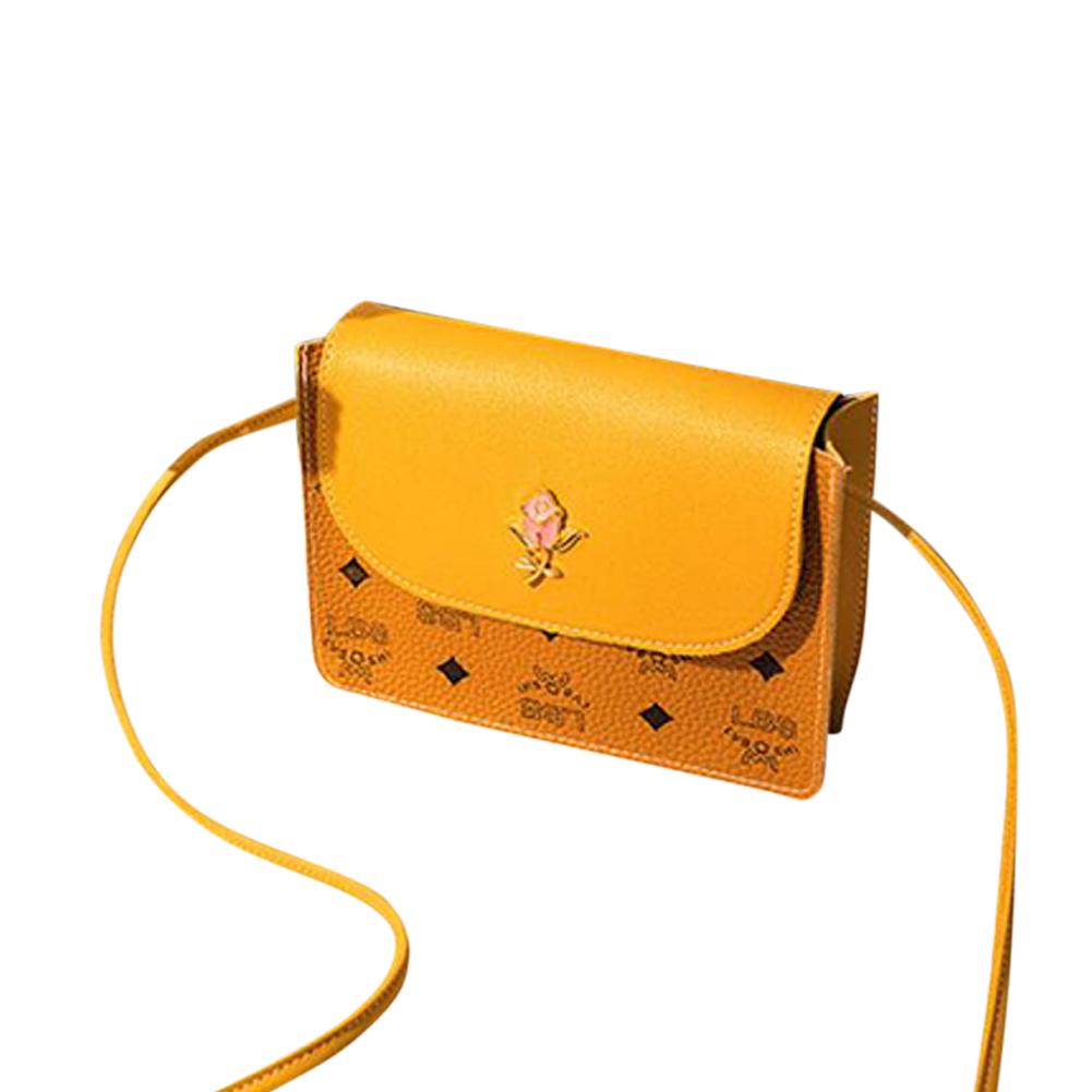 Fashion hit color casual small square bag pu single shoulder messenger bag yellow