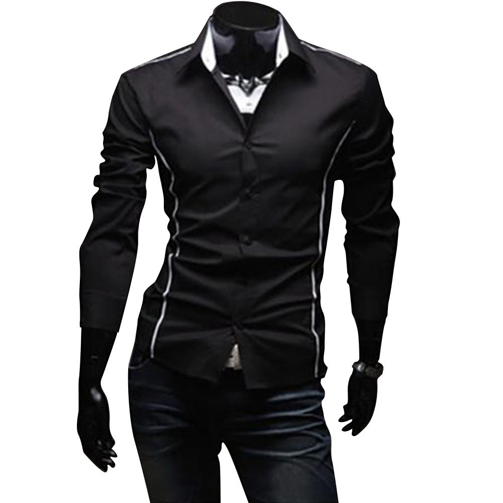 Men Luxury Casual Business Long Sleeve Slim Shirt black_XL