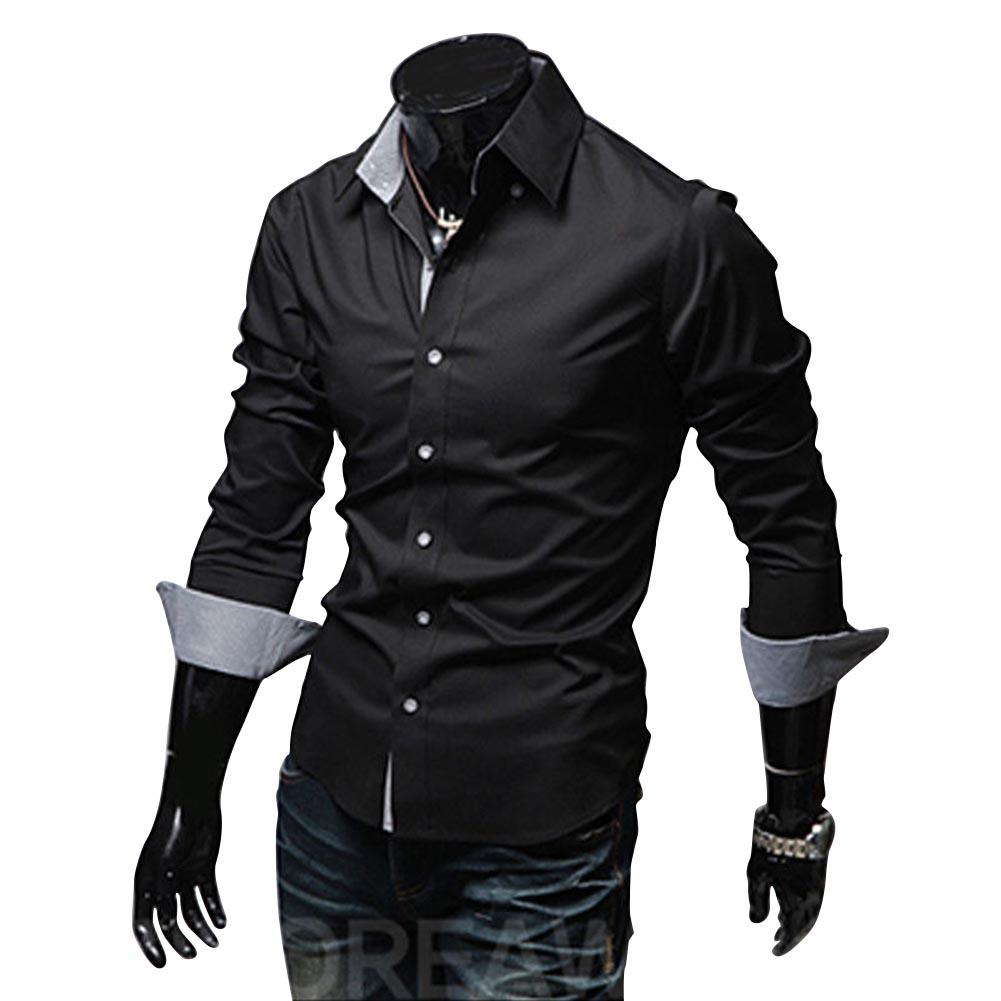 Men Fashion Casual Solid Color Long Sleeve Slim Shirts  black_XL
