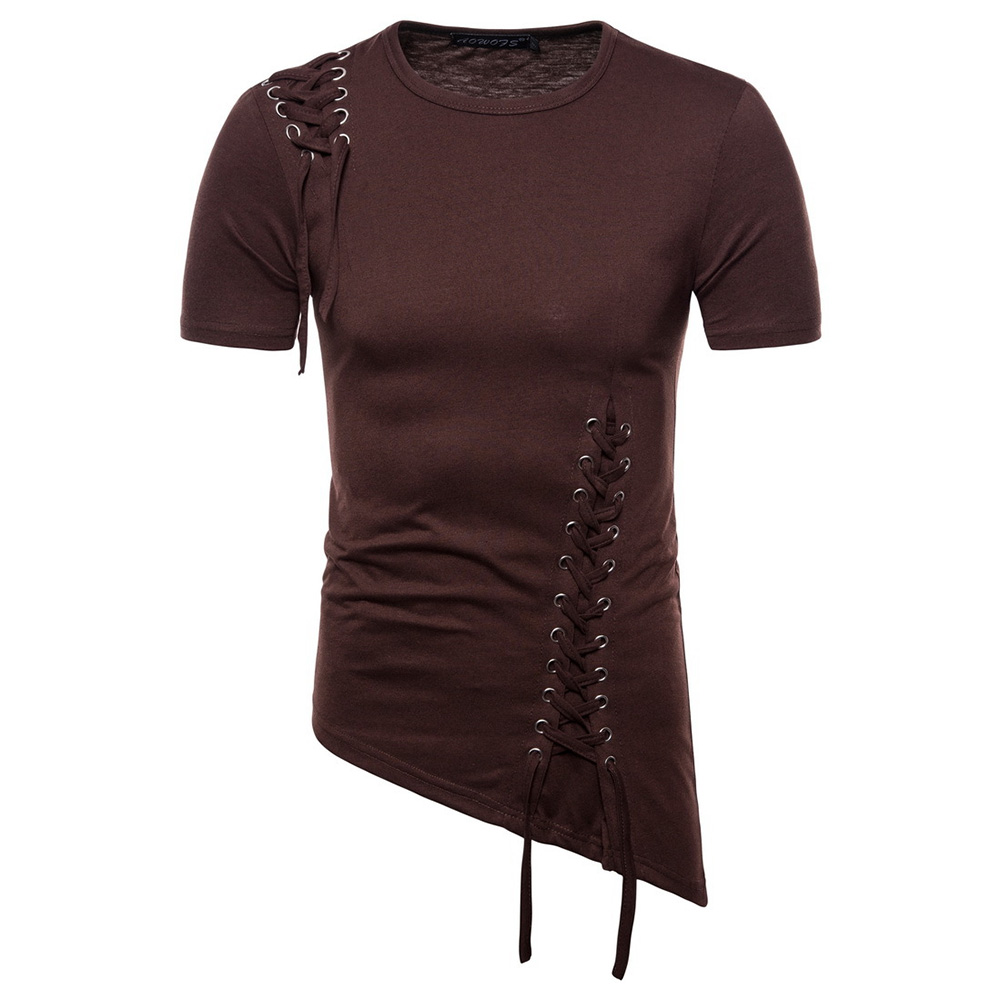 Men Casual Slim Short Sleeve T-Shirt Unique Irregular Hem Braided Rope Tops Brown_XL