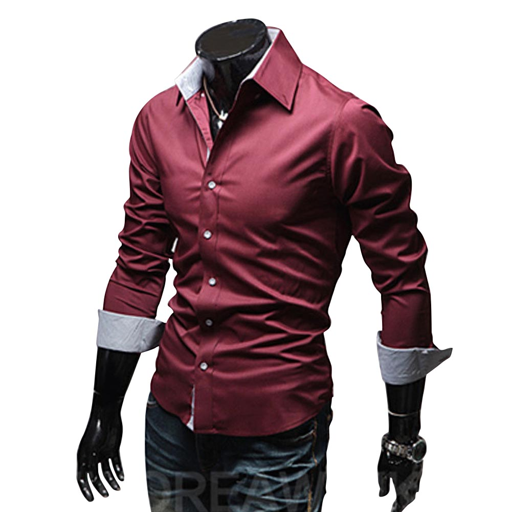 Men Fashion Casual Solid Color Long Sleeve Slim Shirts  Red wine_L