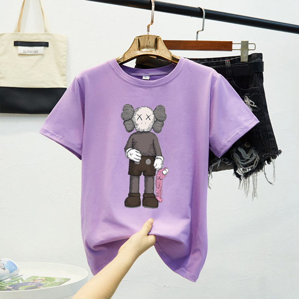 Boy Girl KAWS Couple T-shirt Cartoon Doll Crew Neck Short Sleeve Loose Student Pullover Tops Violet_M